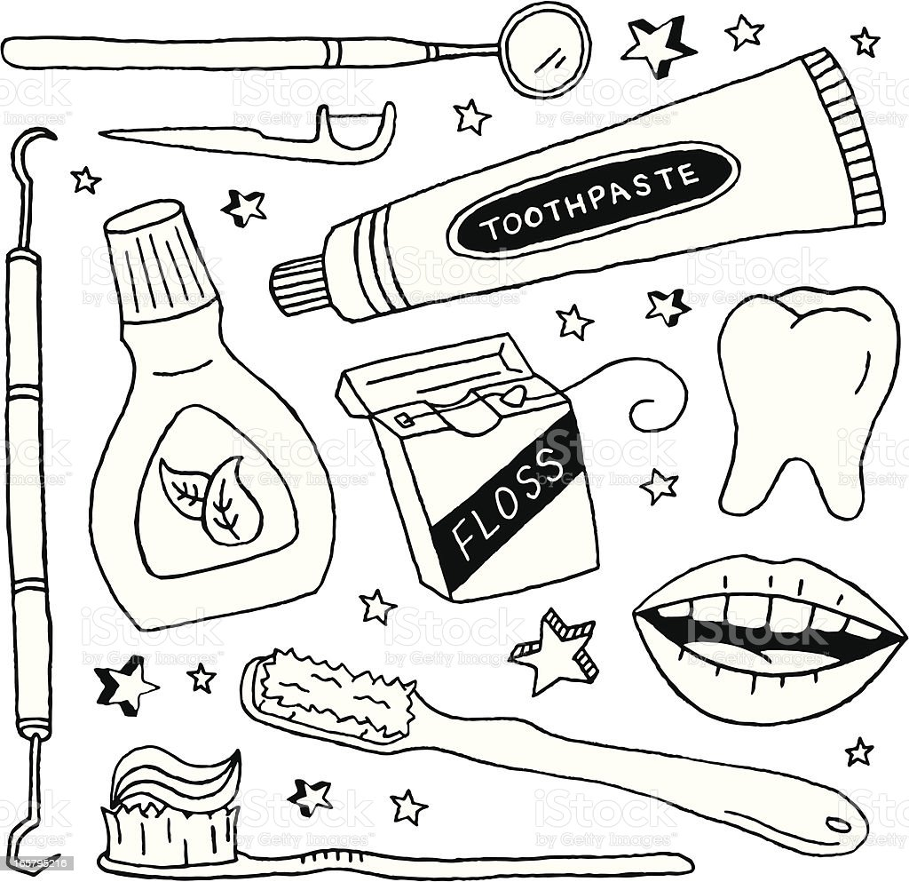 Dental Doodles vector art illustration