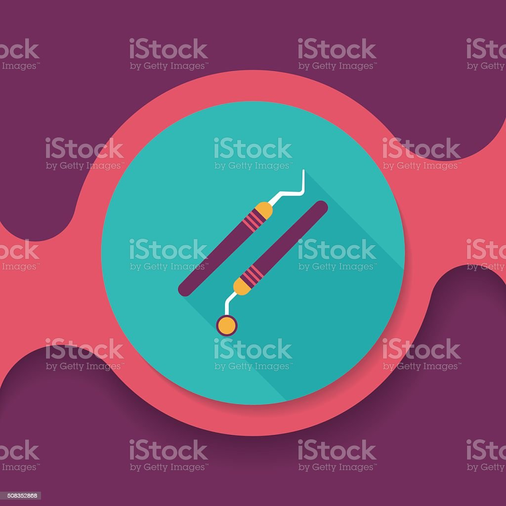 dental equipment flat icon with long shadow vector art illustration
