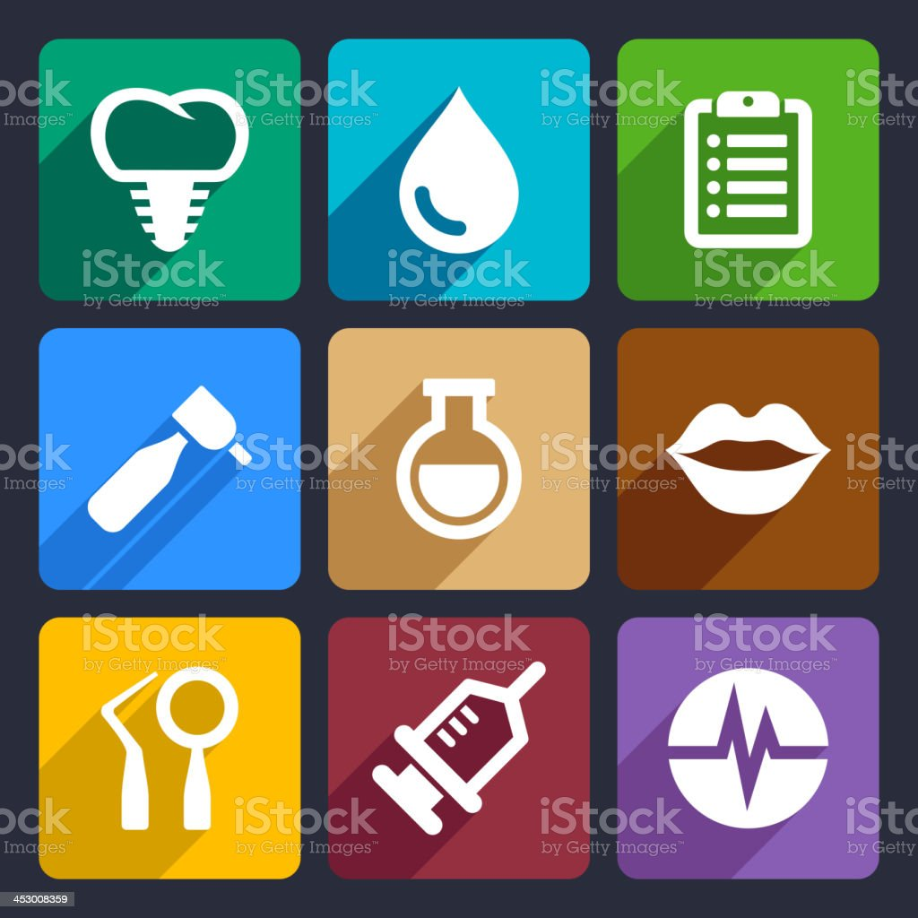 Dental flat icons set 10 royalty-free stock vector art