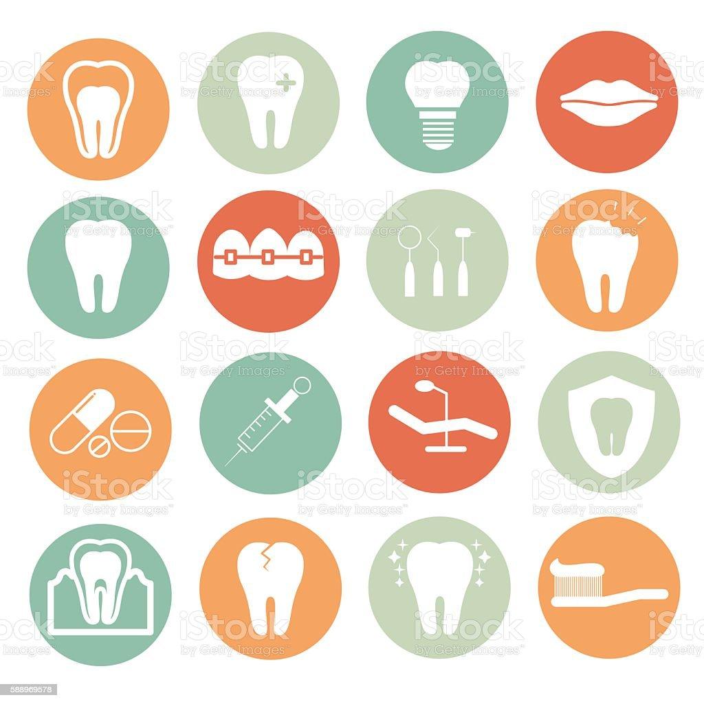 Dental flat icons vector art illustration