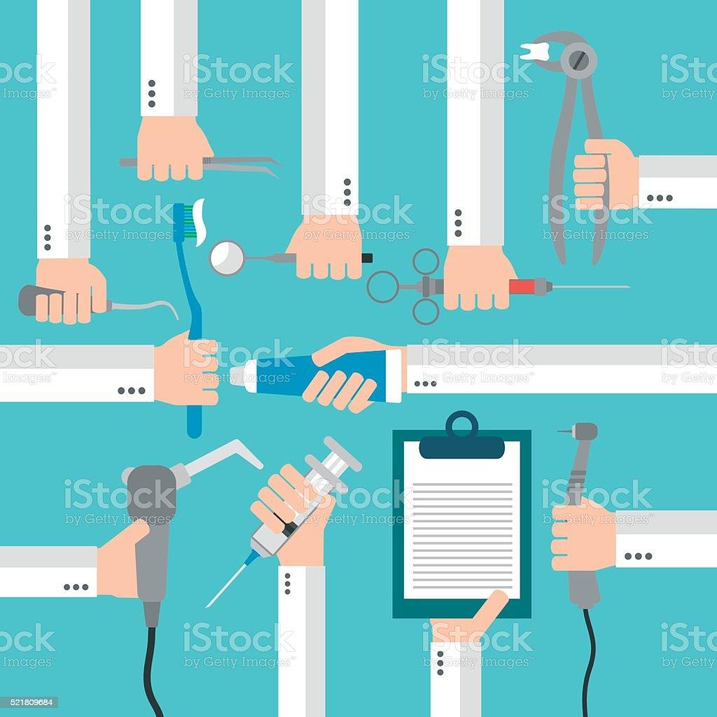 Dental  flat set design concept with hands vector art illustration