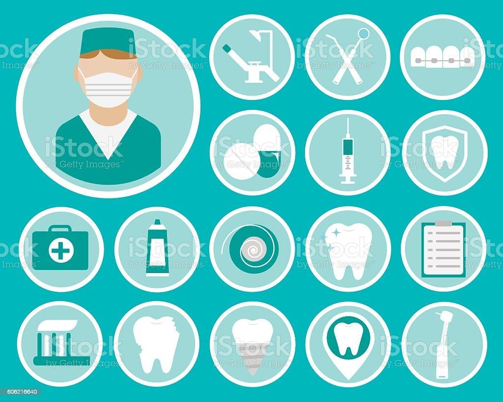 Dental flat vector icons vector art illustration