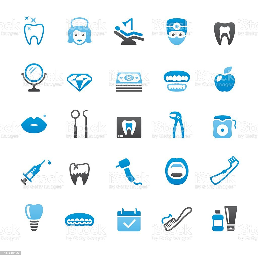 Dental Health related vector icons vector art illustration