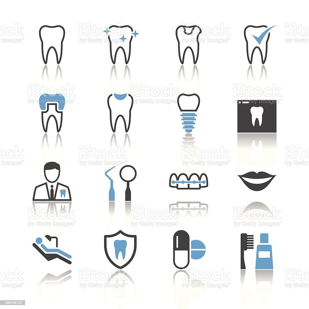 Dental icons - reflection theme vector art illustration