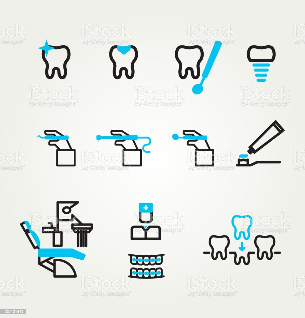 Dental icons reflection theme vector art illustration
