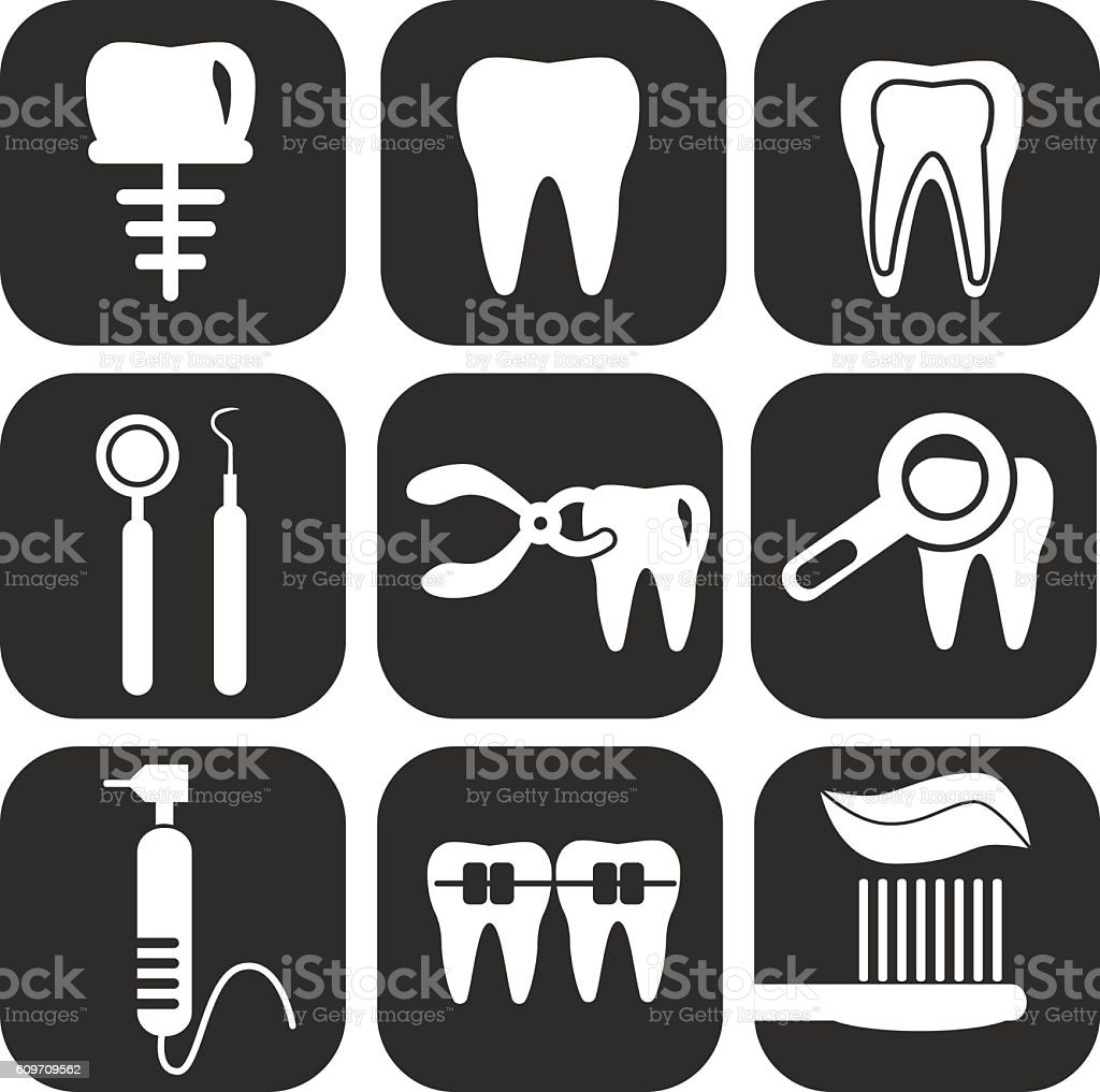 Dental icons set on grey vector art illustration