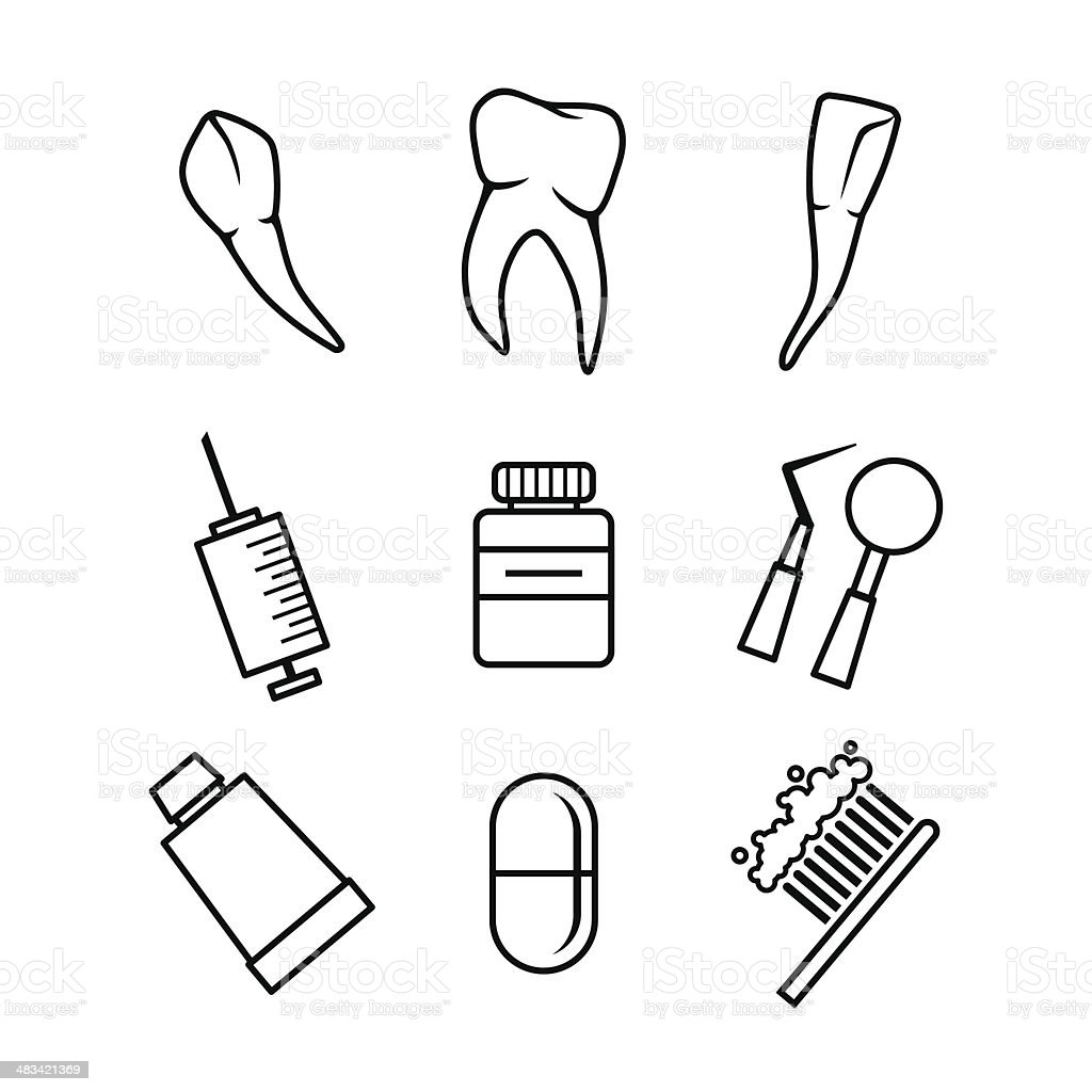 Dental icons set on white background royalty-free stock vector art