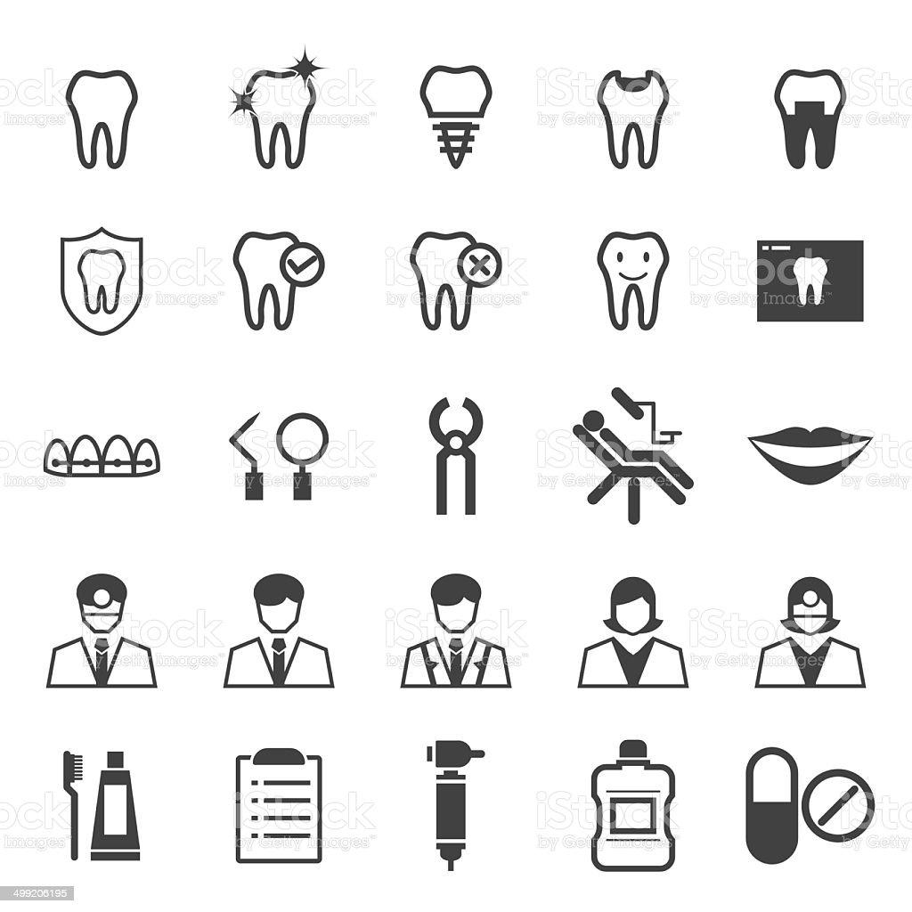 Dental icons set vector art illustration