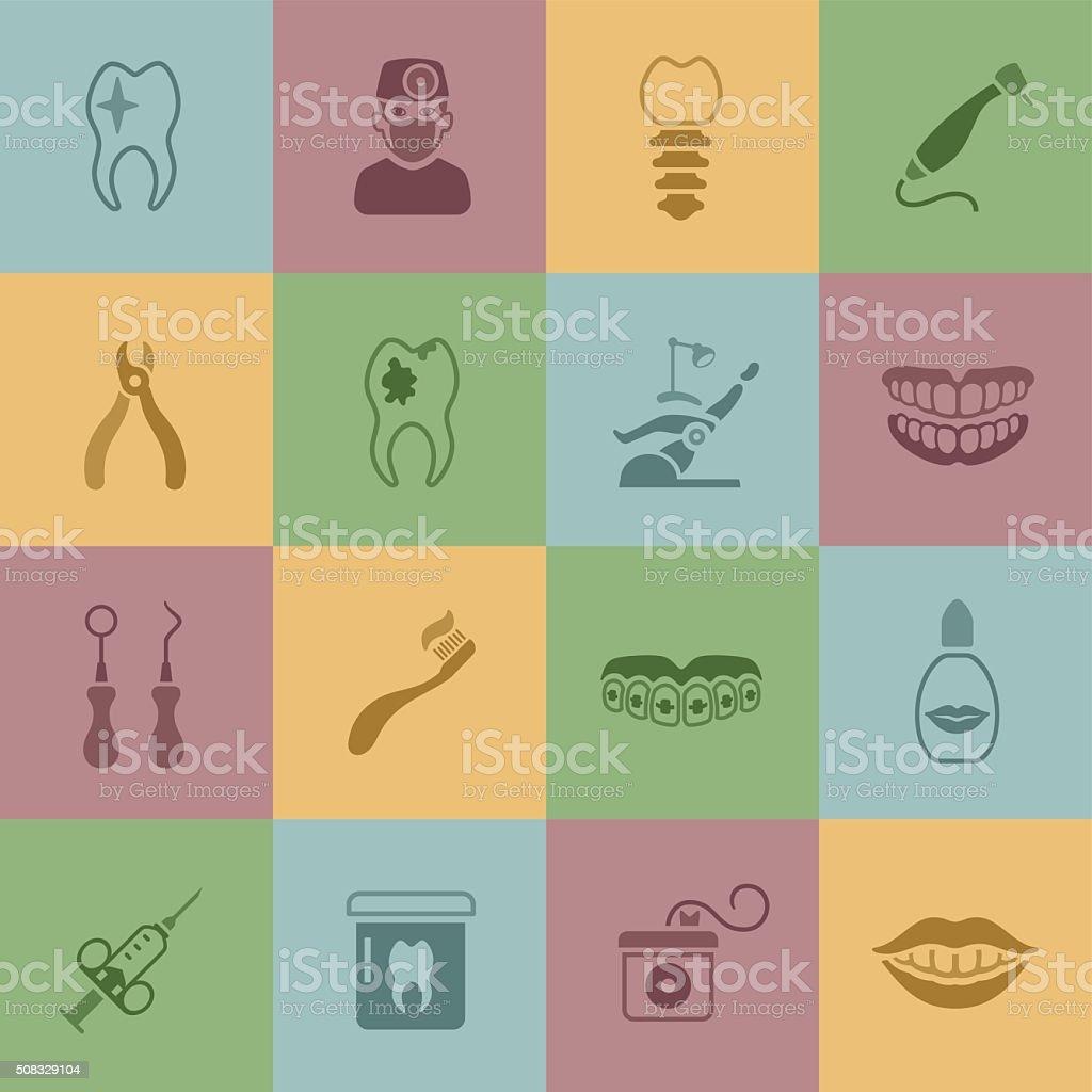 Dental Icons vector art illustration