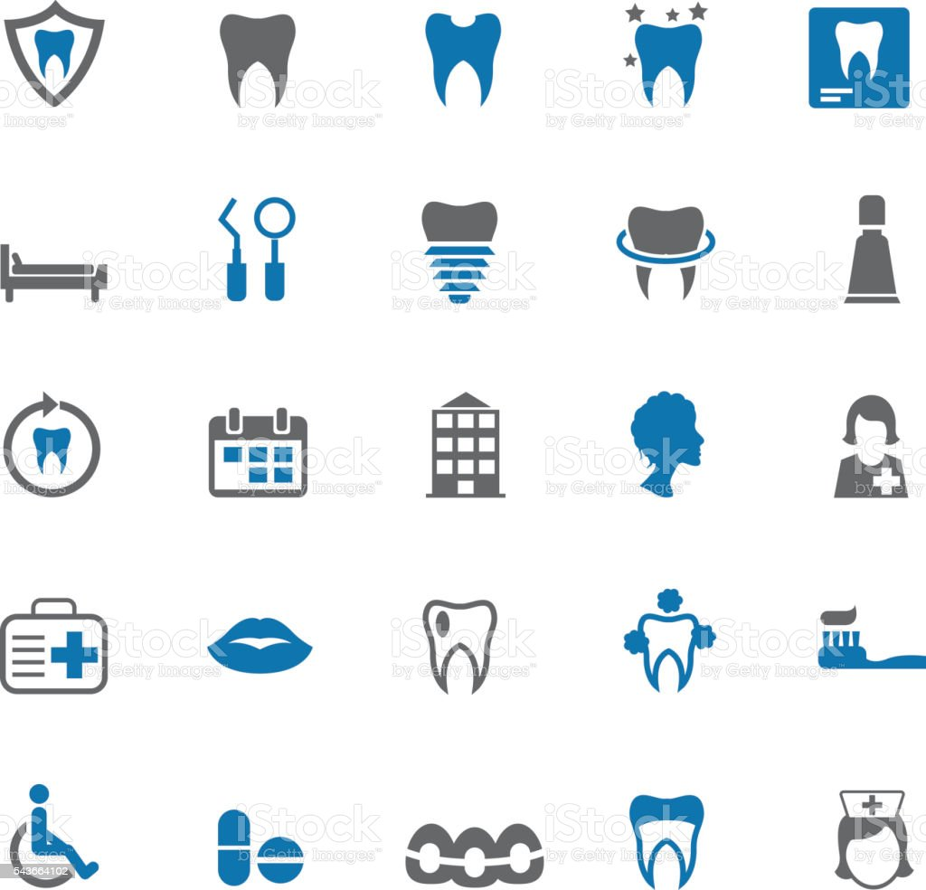 Dental icons vector art illustration