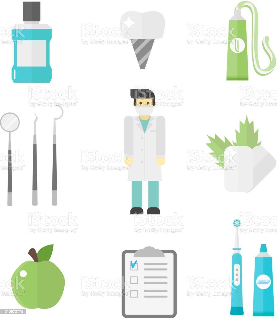 Dental icons vector set. vector art illustration