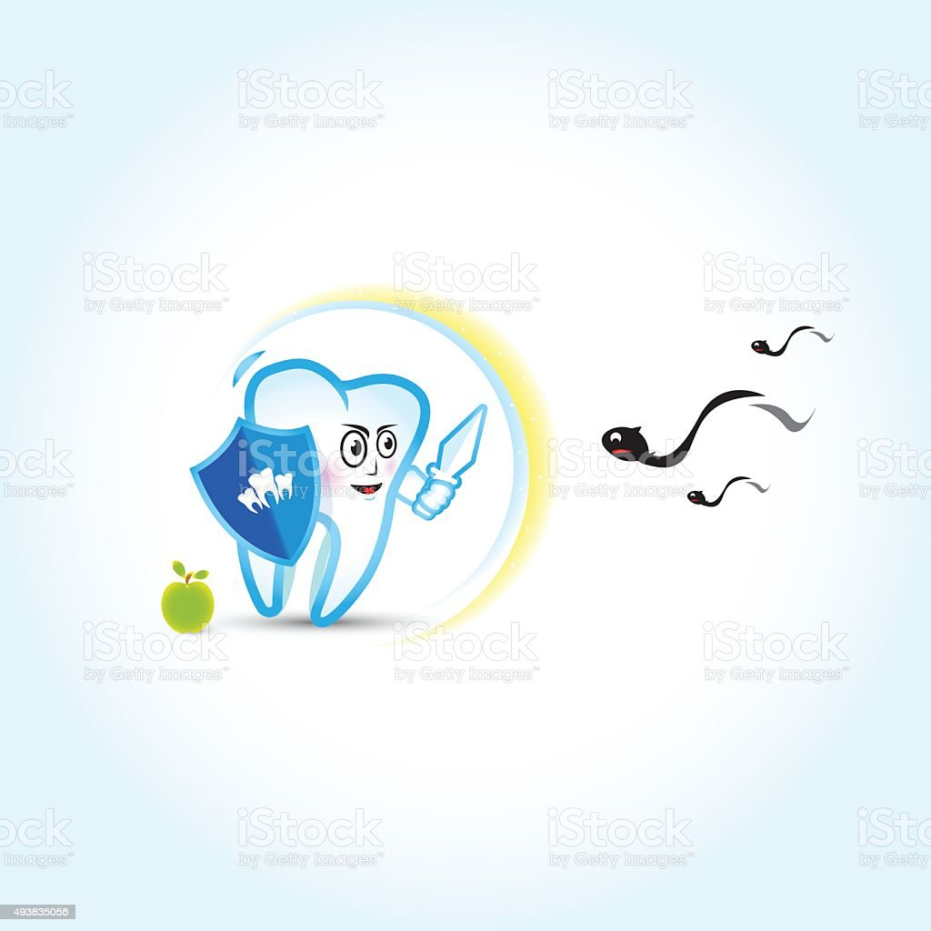 Dental illustration. Tooth fighting with caries. Dental care, dental clinic vector art illustration