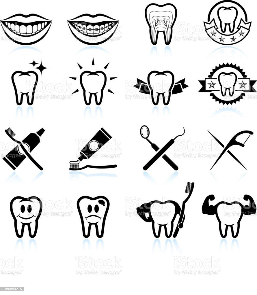 Dental Image Designs black and white vector icon set vector art illustration