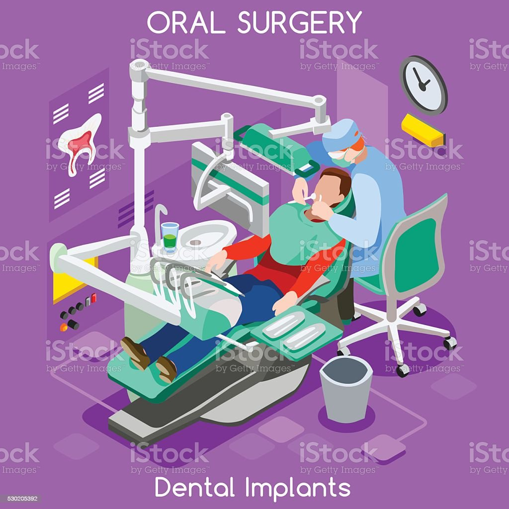 Dental Implant Teeth Hygiene Whitening Oral Surgery Center Dentist Patient vector art illustration