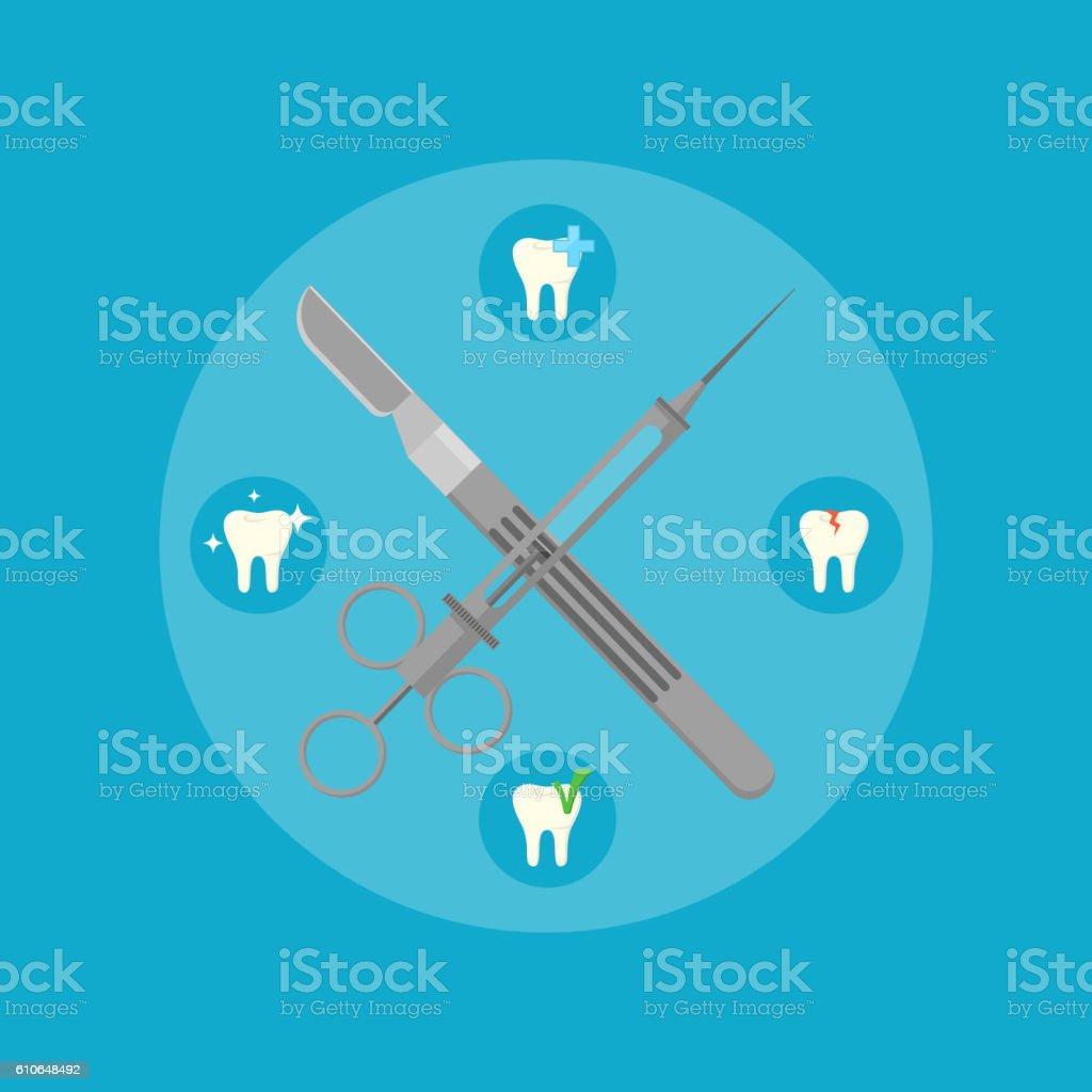 Dental instruments crosswise on color background vector art illustration