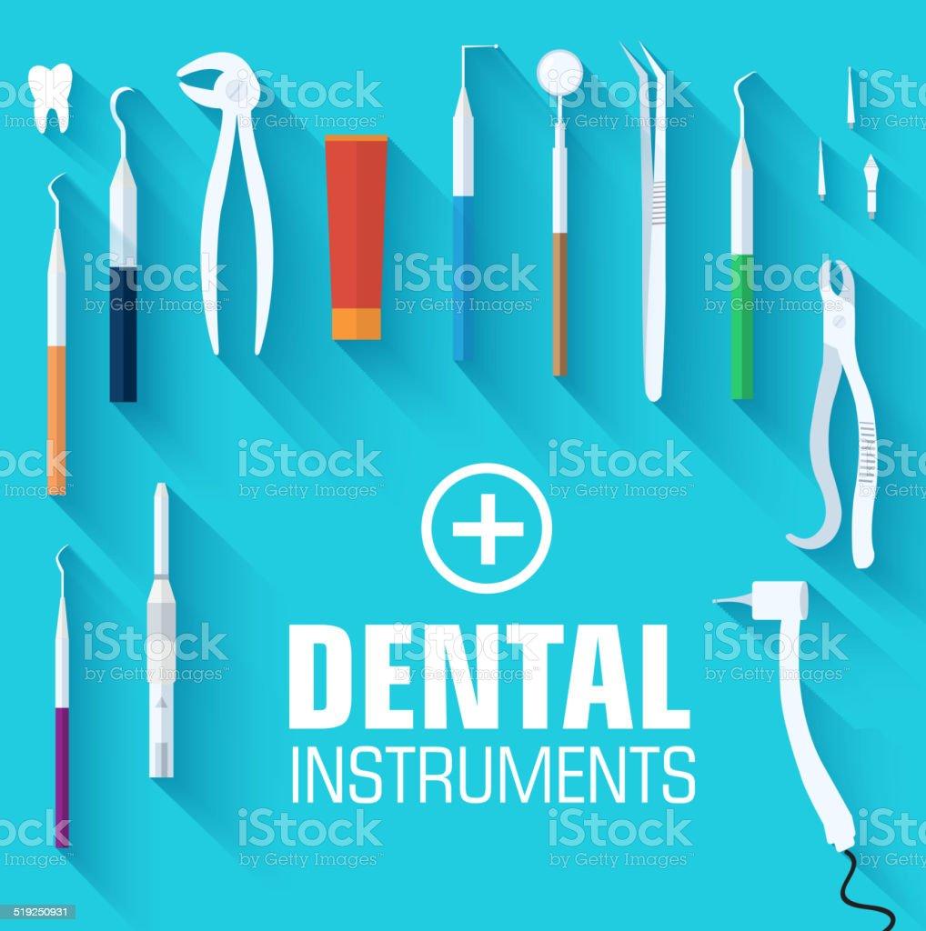 dental instruments set concept of flat design vector art illustration
