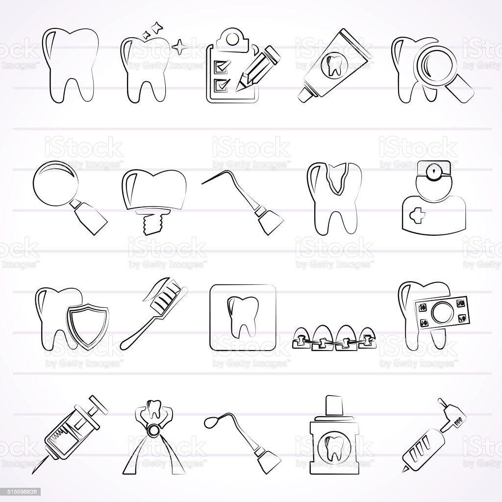 dental medicine and tools icons vector art illustration