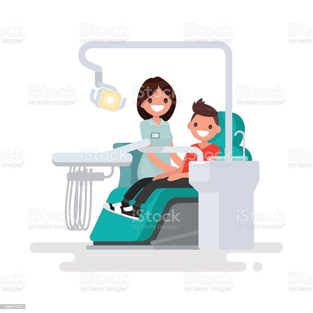 Dental office. Children's dentist and patient. Vector illustrati vector art illustration