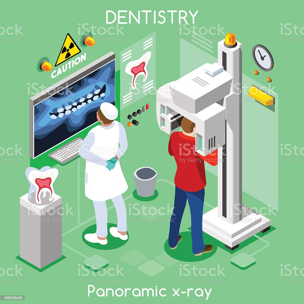 Dental Panoramic Teeth Radiography Oral Imaging Dental Center Dentist Patient vector art illustration