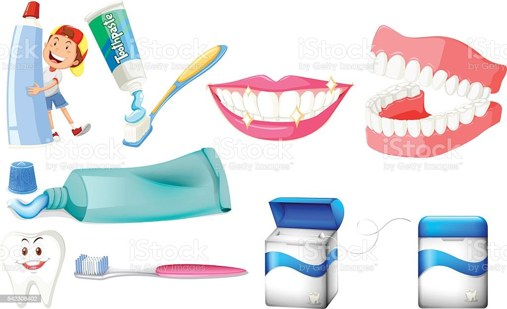 Dental set with boy and clean teeth vector art illustration