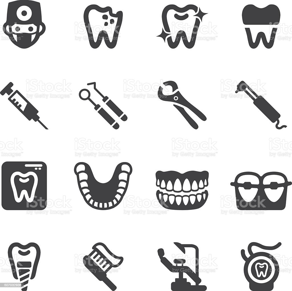 Dental Silhouette Icons | EPS10 vector art illustration