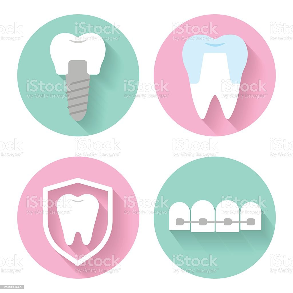dental vector icons vector art illustration