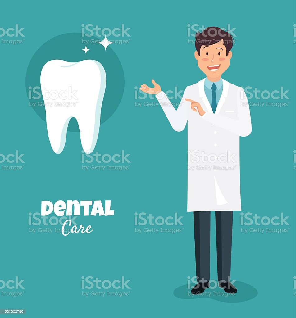 Dentist, a doctor in a white suit pointing at  tooth. vector art illustration