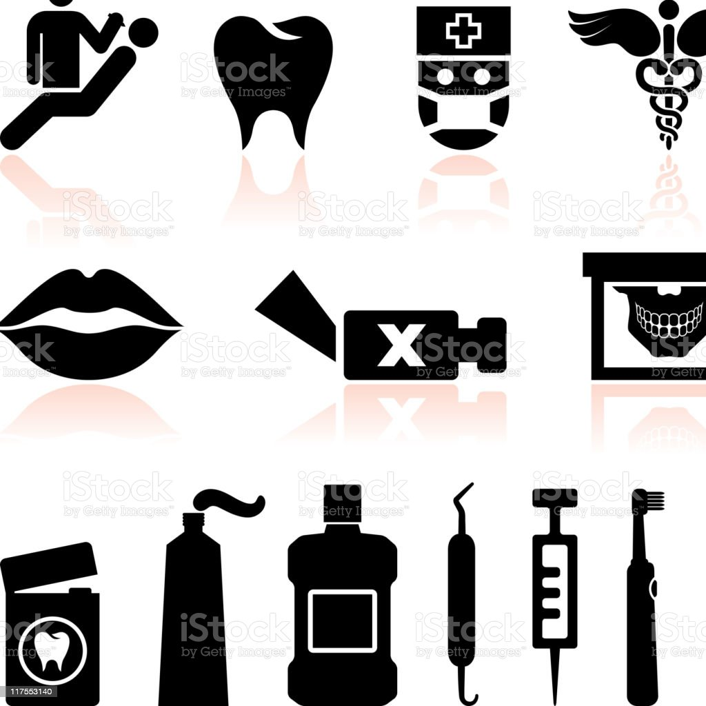 Dentist and dental care black & white vector icon set royalty-free stock vector art