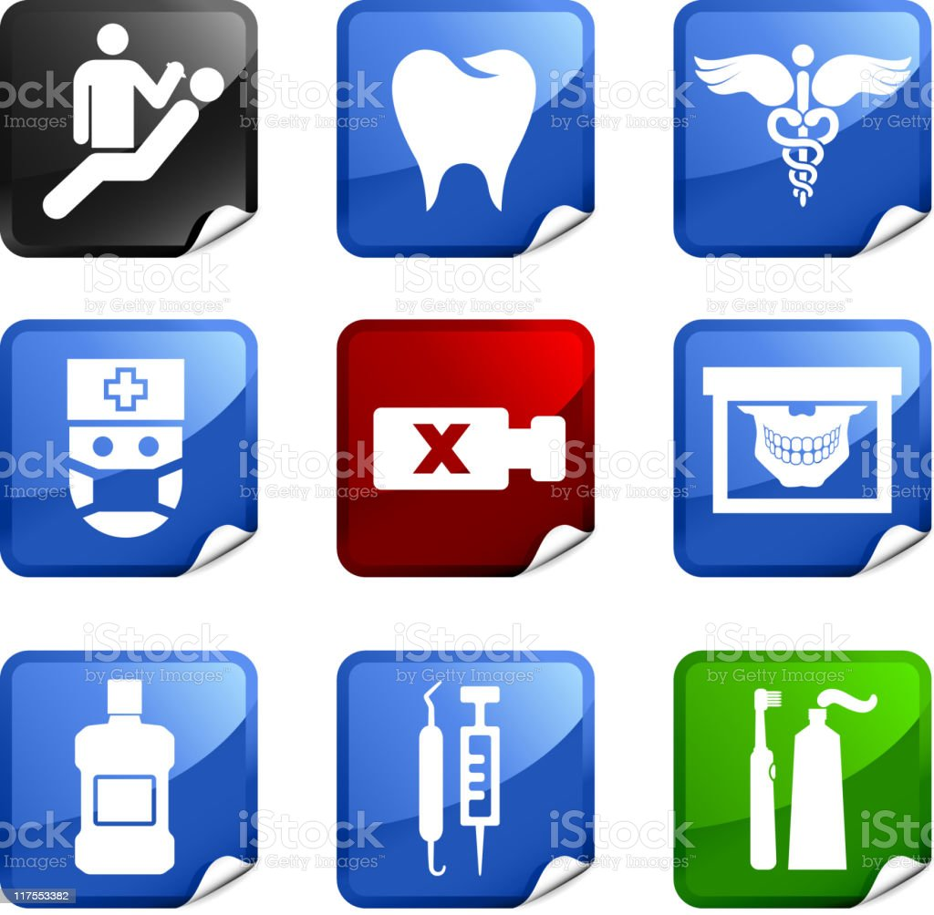 Dentist and dental care nine royalty free vector icon set vector art illustration