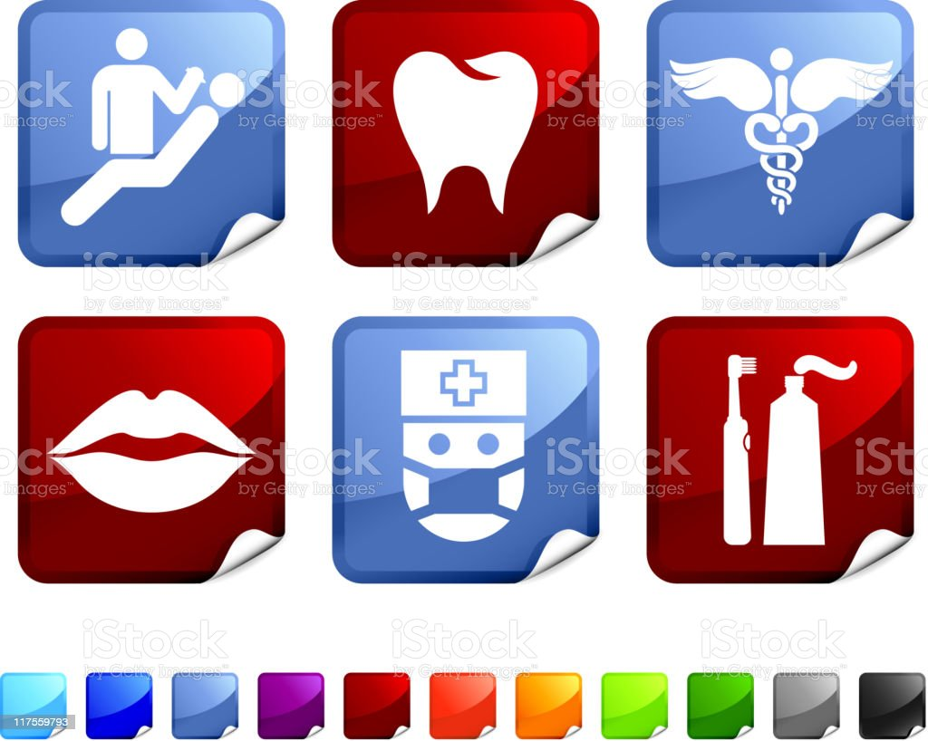 Dentist and dental care royalty free vector icon set stickers royalty-free stock vector art