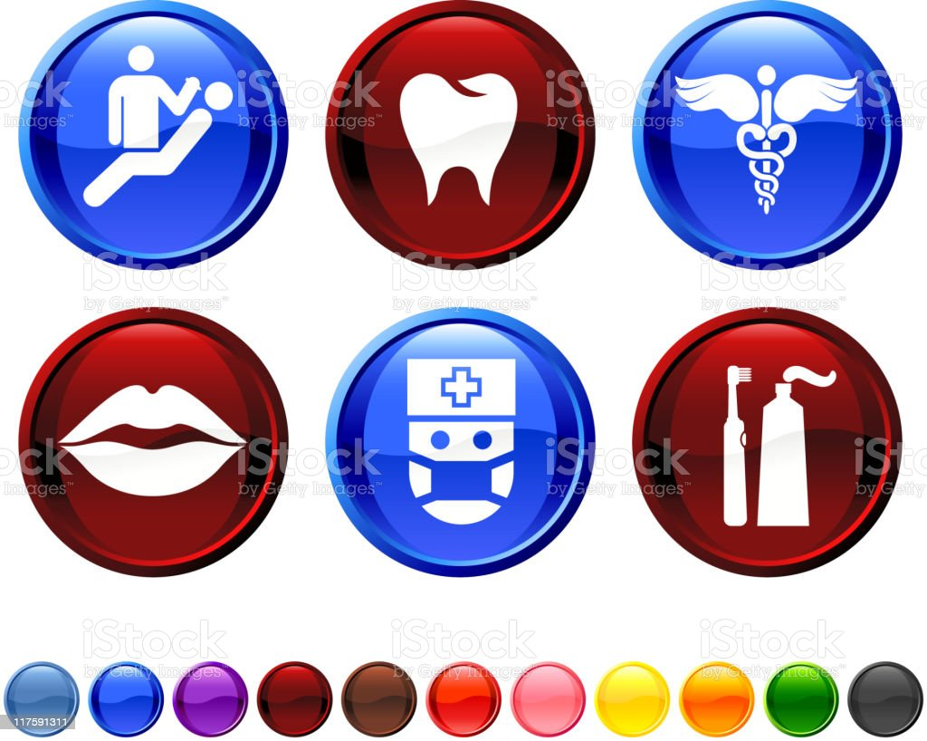 Dentist and dental care royalty free vector icon set vector art illustration