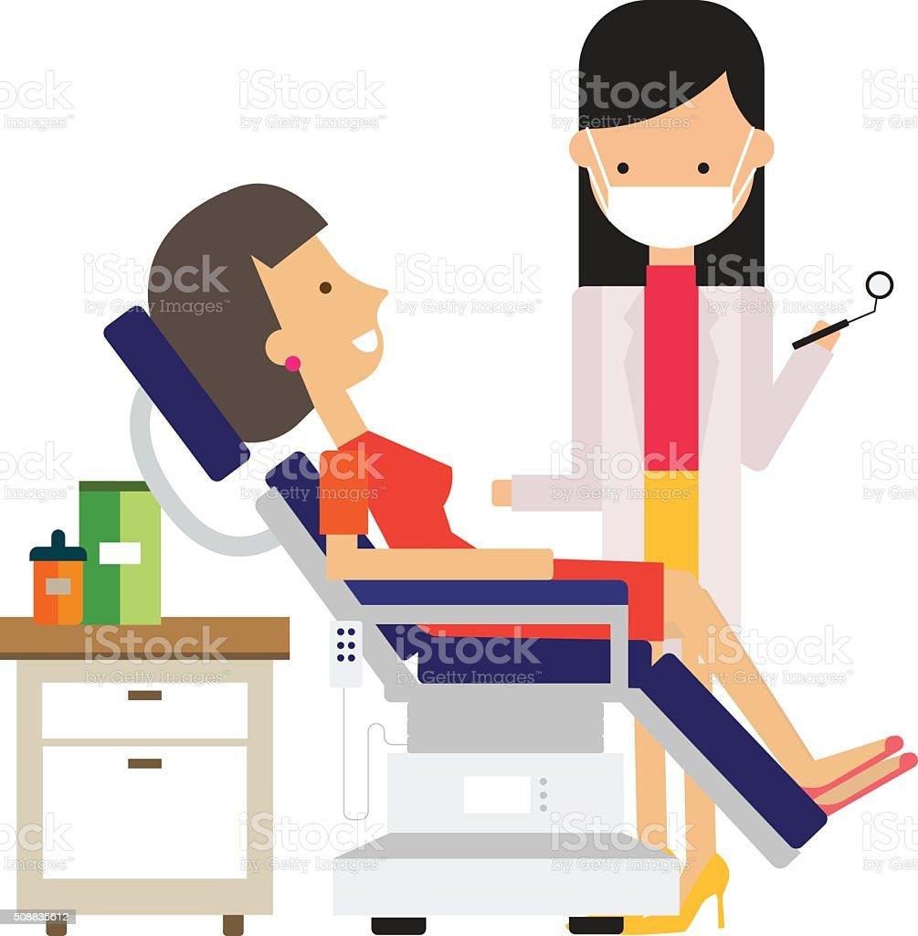 Dentist And Patient, Vector Illustration vector art illustration