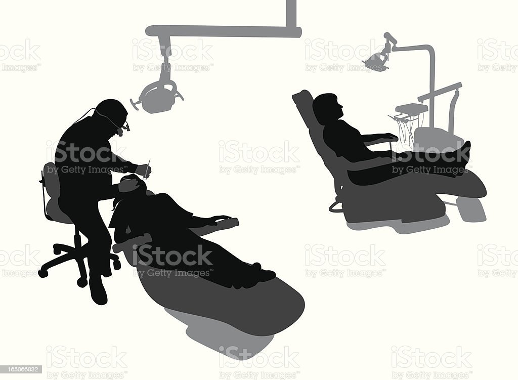 Dentist At Work Vector Silhouette vector art illustration