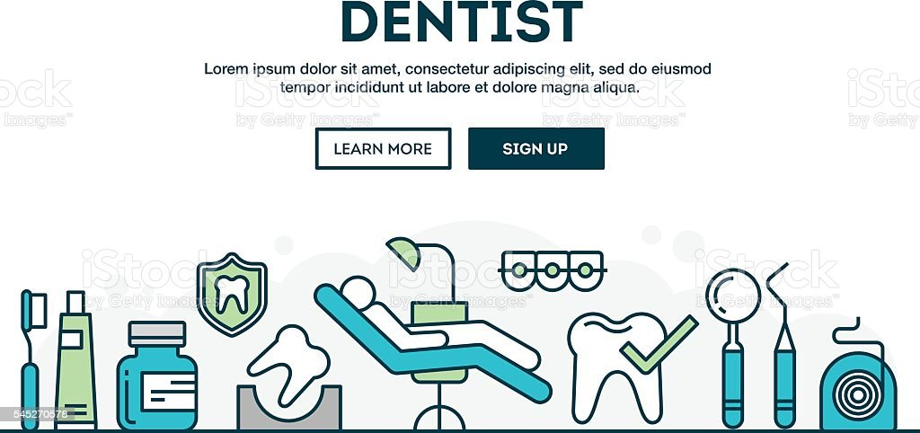 Dentist, colorful concept header, flat design thin line style vector art illustration