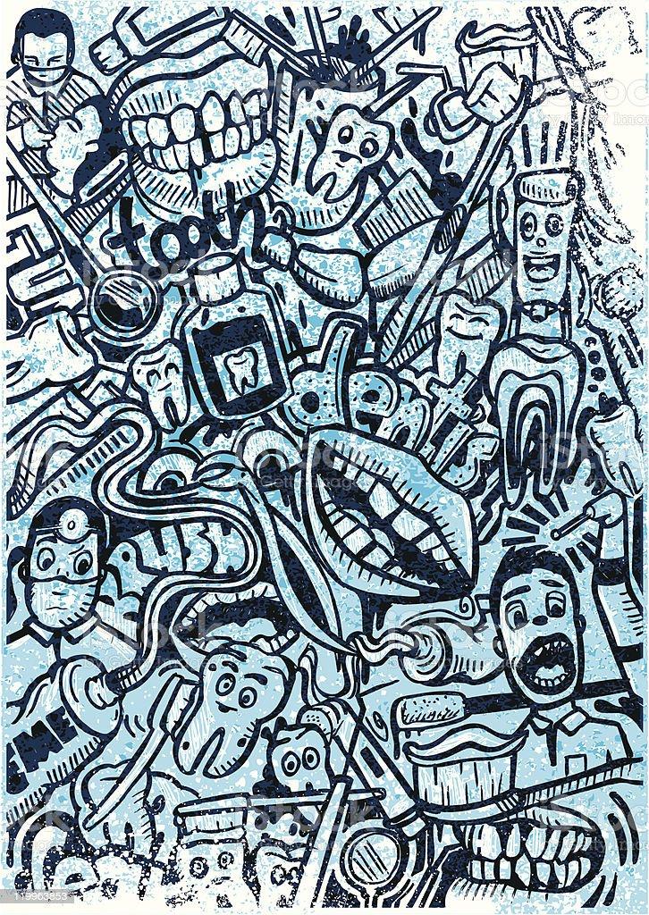 dentist doodle vector art illustration