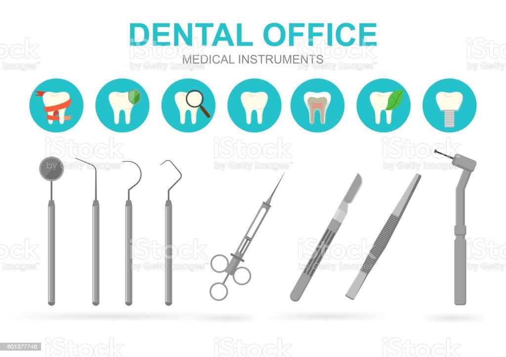 Dentist equipment isolated. Vector illustration. vector art illustration