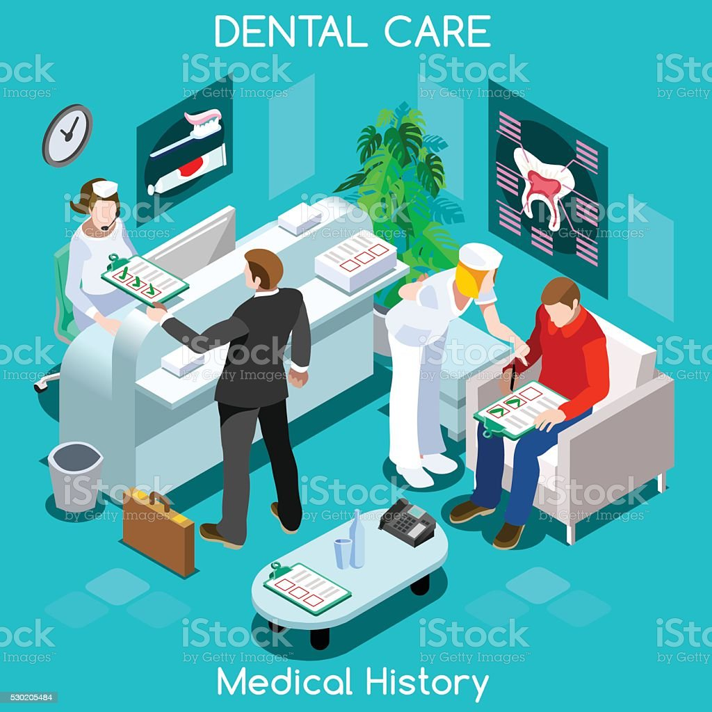 Dentist Patient Medical History Waiting Room Before Medical Visit Hospital vector art illustration