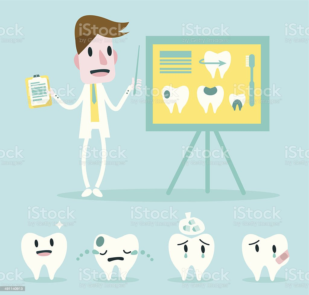 Dentist point to whiteboard and teethes character set. vector art illustration