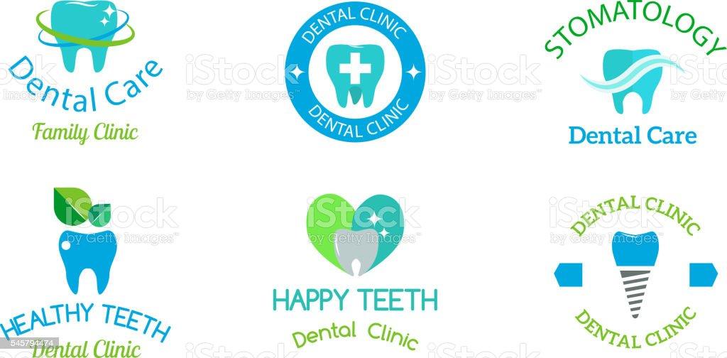 Dentist symbols vector set. vector art illustration