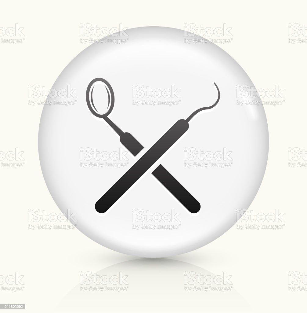 Dentist Tools icon on white round vector button vector art illustration
