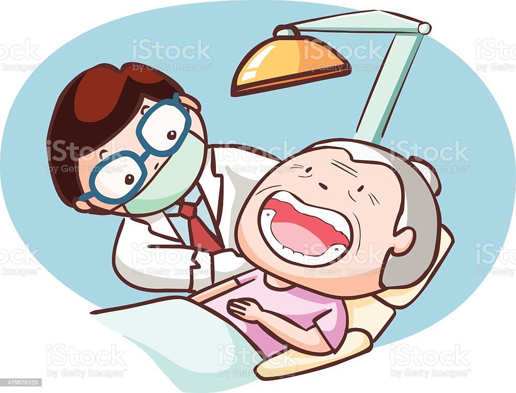 dentist treat grandmother in the clinic vector vector art illustration