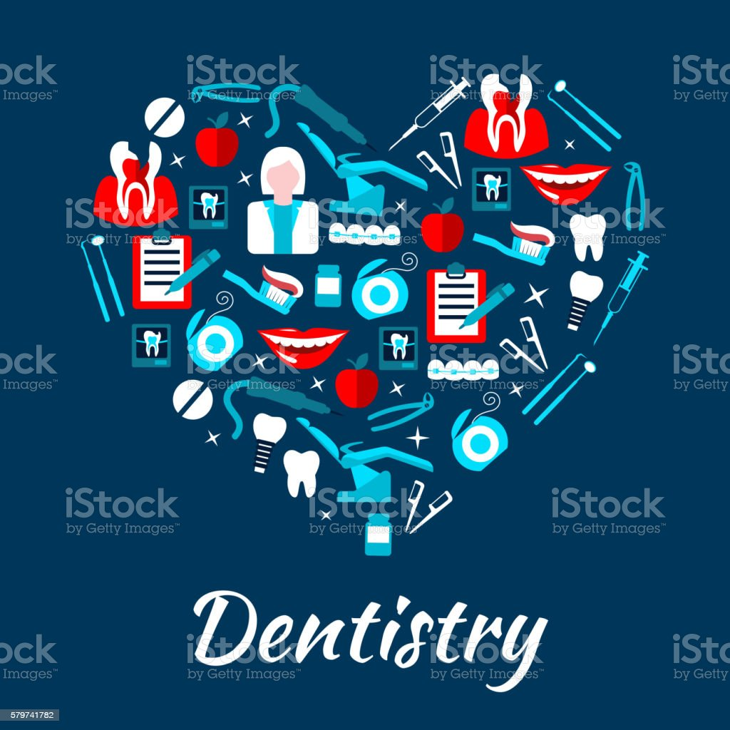 Dentistry banner with icons and symbols vector art illustration