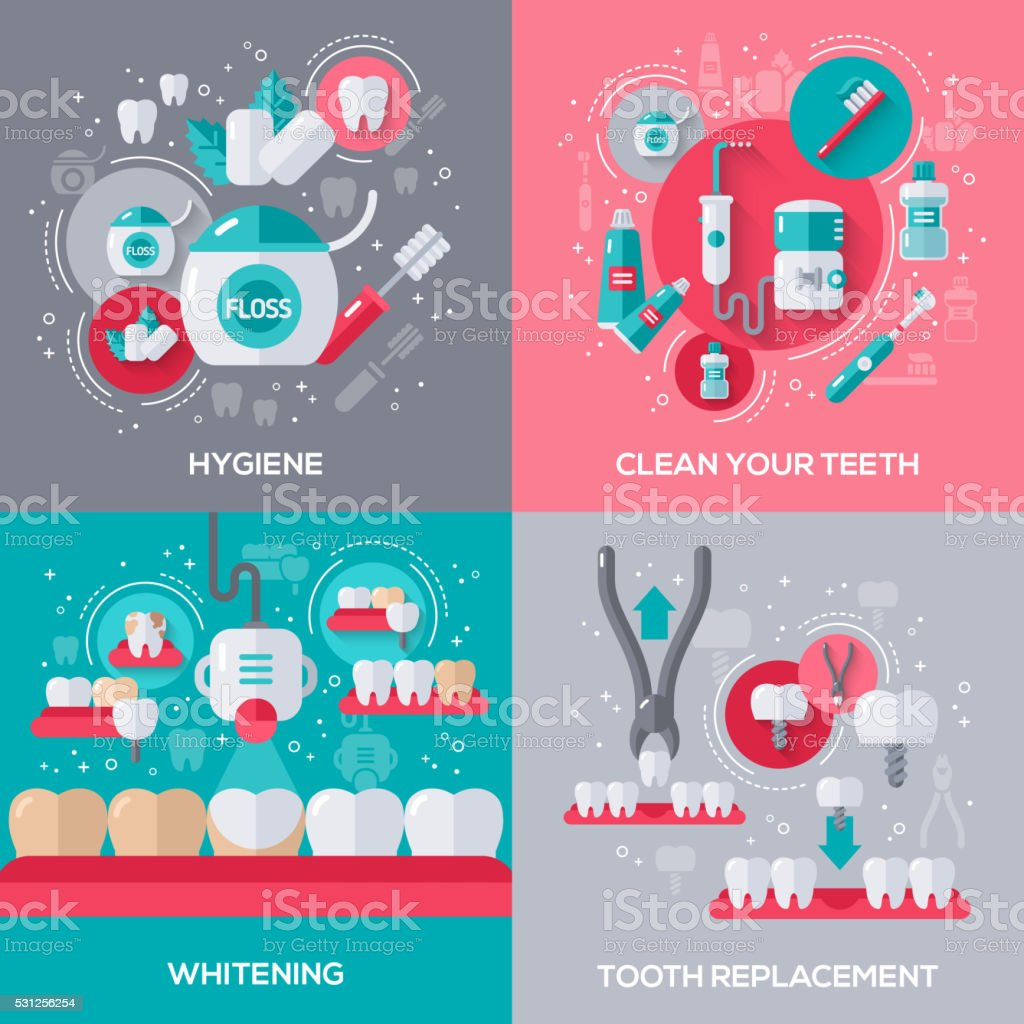 Dentistry Banners Set vector art illustration
