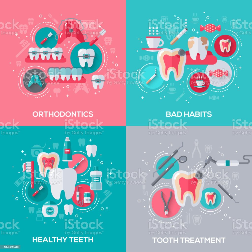 Dentistry Banners Set With Flat Icons. vector art illustration