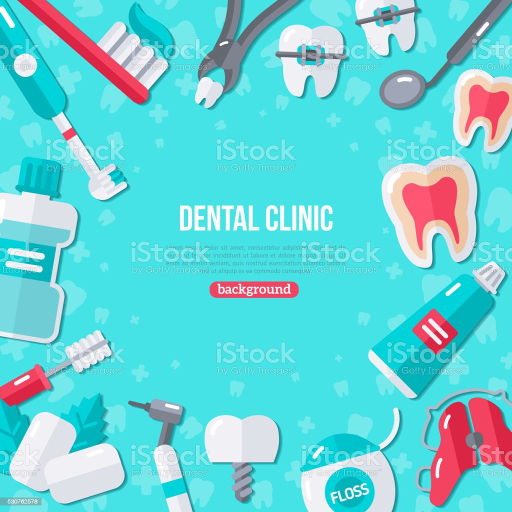 Dentistry Flat Icons on Blue Background vector art illustration