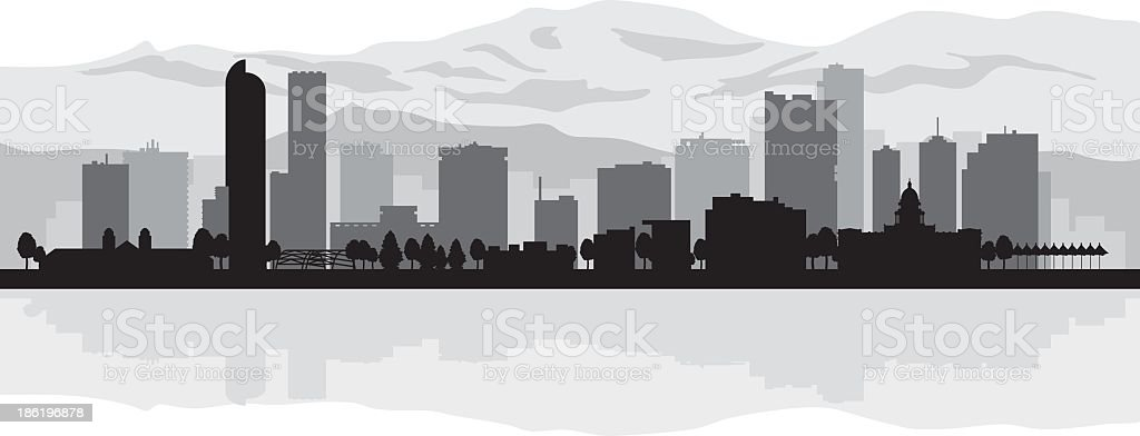 Denver city skyline silhouette background vector art illustration