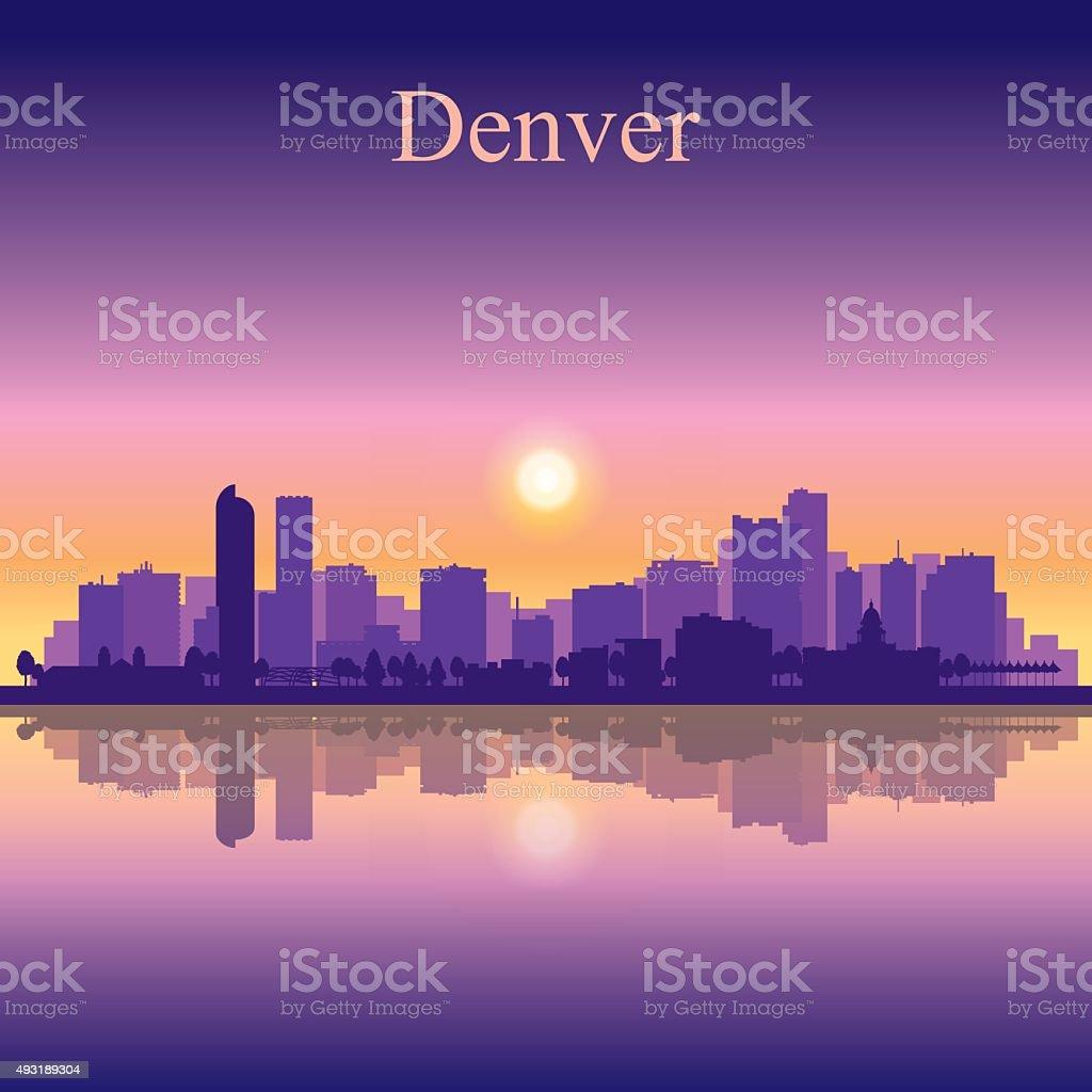 Denver city skyline silhouette background vector art illustration