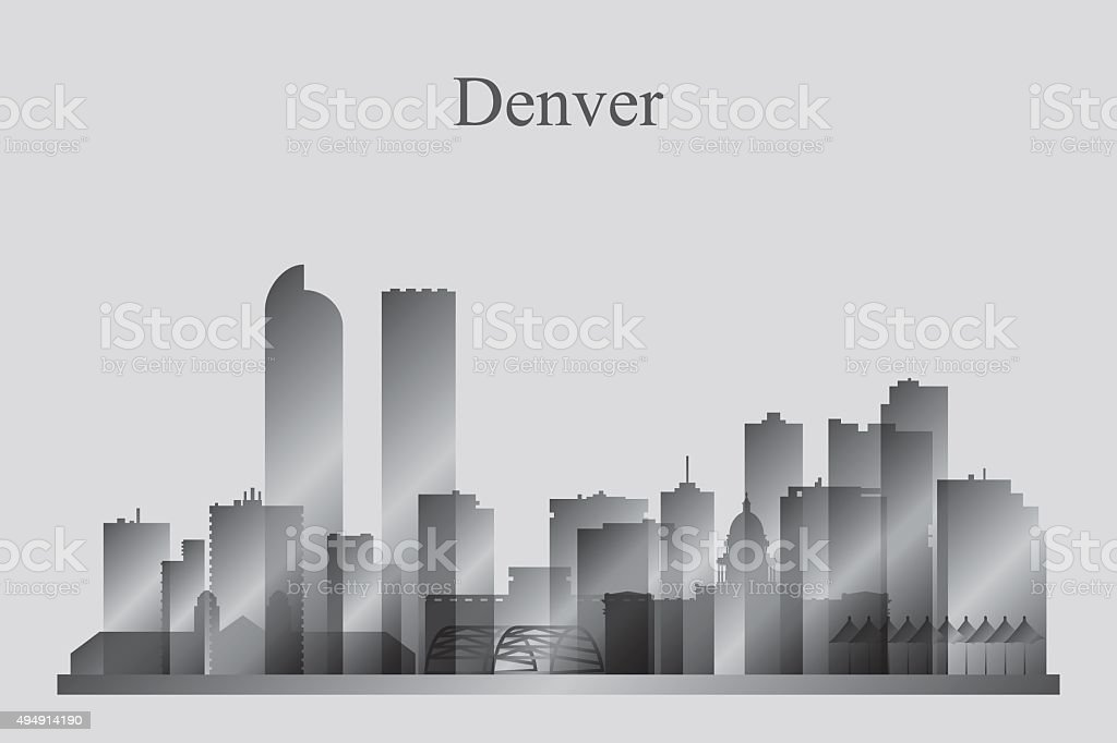Denver city skyline silhouette in grayscale vector art illustration