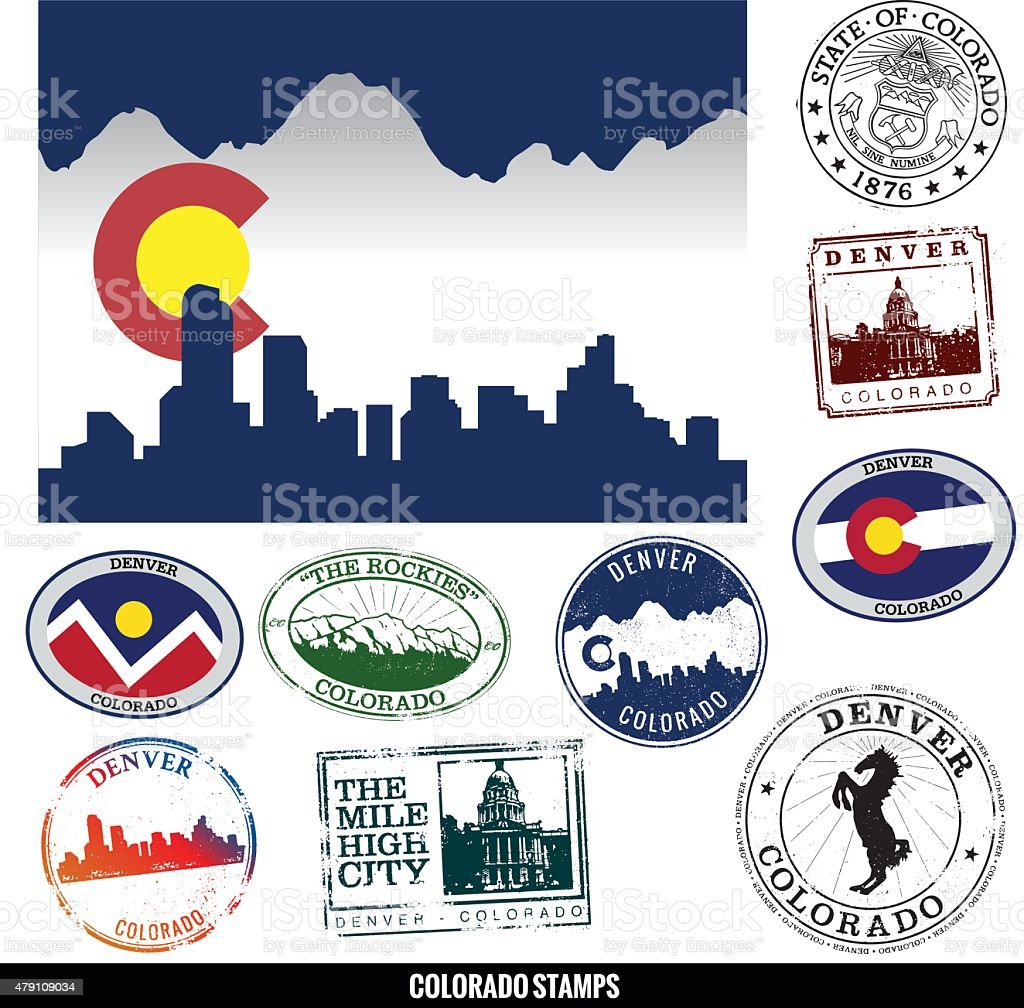 Denver Colorado Cityscape and Stamps vector art illustration