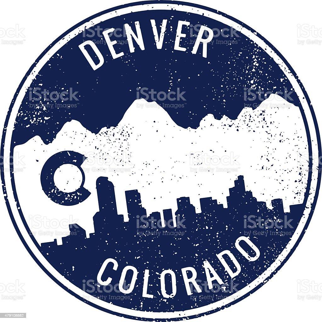 Denver Colorado Cityscape Stamp vector art illustration
